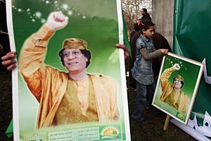 Pro And Anti Colonel Gaddafi Groups Demonstrate In Central London