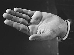 Man's open hand
