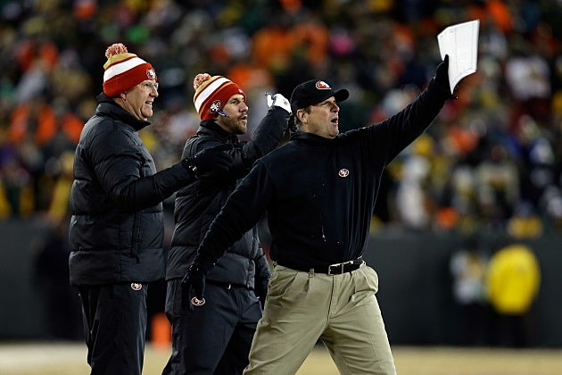 Jim Harbaugh San Francisco 49ers in Green Bay Packers