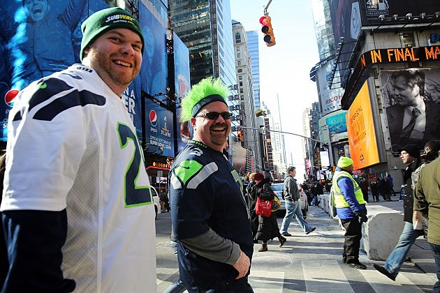 Seahawks Fans in Times Square