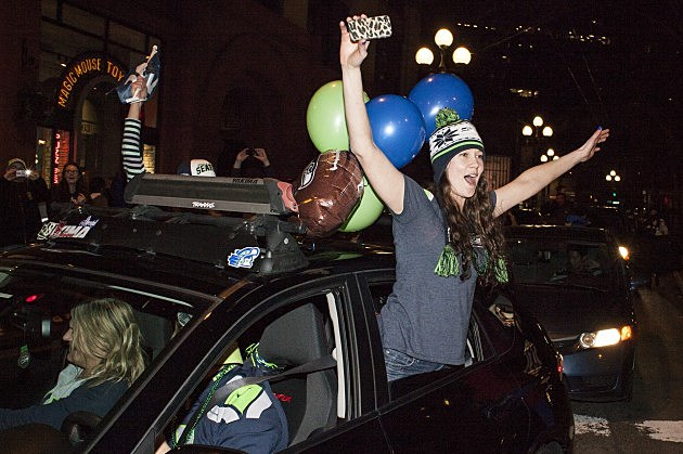 Seattle Seahawks Fans Gather To Watch The Super Bowl Against The Denver Broncos