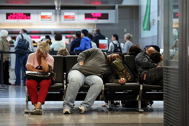 People Sleeping in an Airport