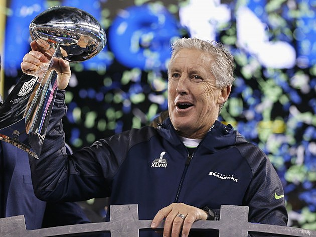 Pete Carroll with Lombardi Trophy