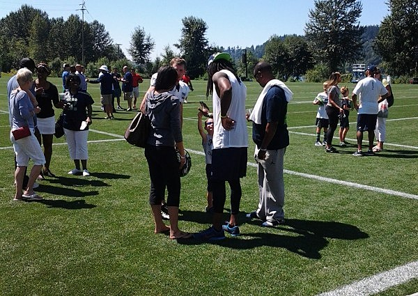Greeting the Fans at Seahawks Training Camp