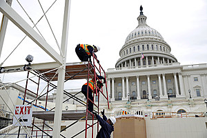 Construction Continues On Inauguration Viewing Standing
