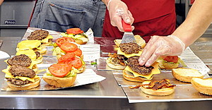 Eat and Run Art from Five Guys Burgers and Fries on Fore Street. Handmade, 100% beef patties are add